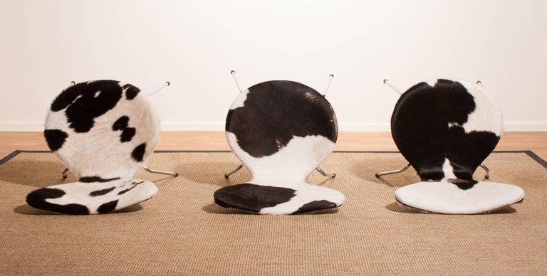 1950s, Cow Fur Leather Model 3107 Dining Chairs by Arne Jacobsen & Fritz Hansen 6