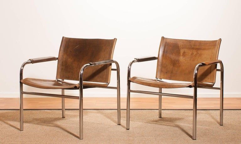 1960s , A pair of Leather and Tubular Steel ArmChairs 'Klinte' by Tord Björklund 5
