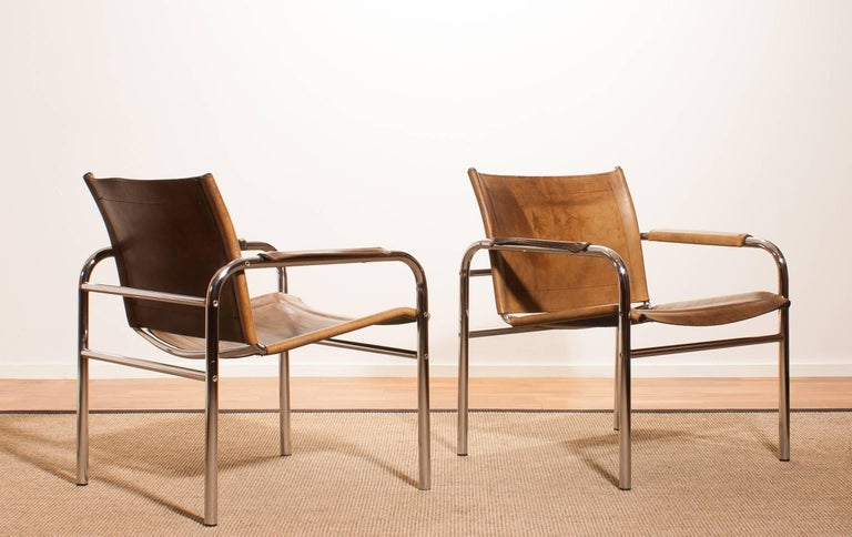 1960s , A pair of Leather and Tubular Steel ArmChairs 'Klinte' by Tord Björklund 3