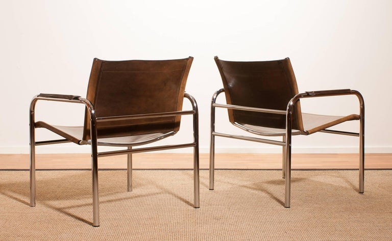 1960s , Two Leather And Tubular Steel Arm Chairs 'Klinte