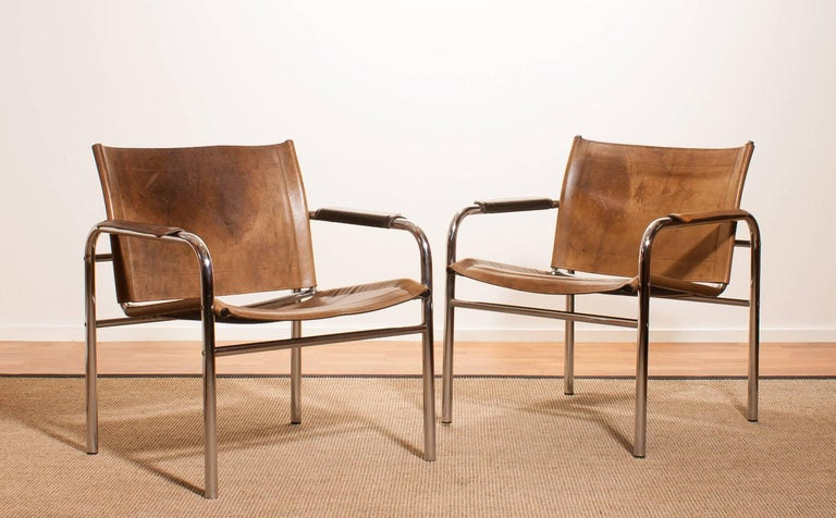 1960s , A pair of Leather and Tubular Steel ArmChairs 'Klinte' by Tord Björklund 2