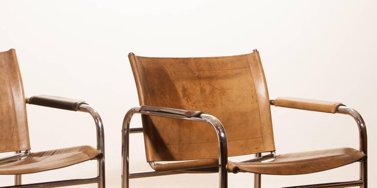 1960s , A pair of Leather and Tubular Steel ArmChairs 'Klinte' by Tord Björklund 8