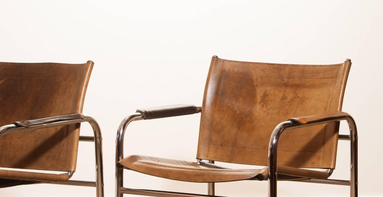 1960s , A pair of Leather and Tubular Steel ArmChairs 'Klinte' by Tord Björklund 6