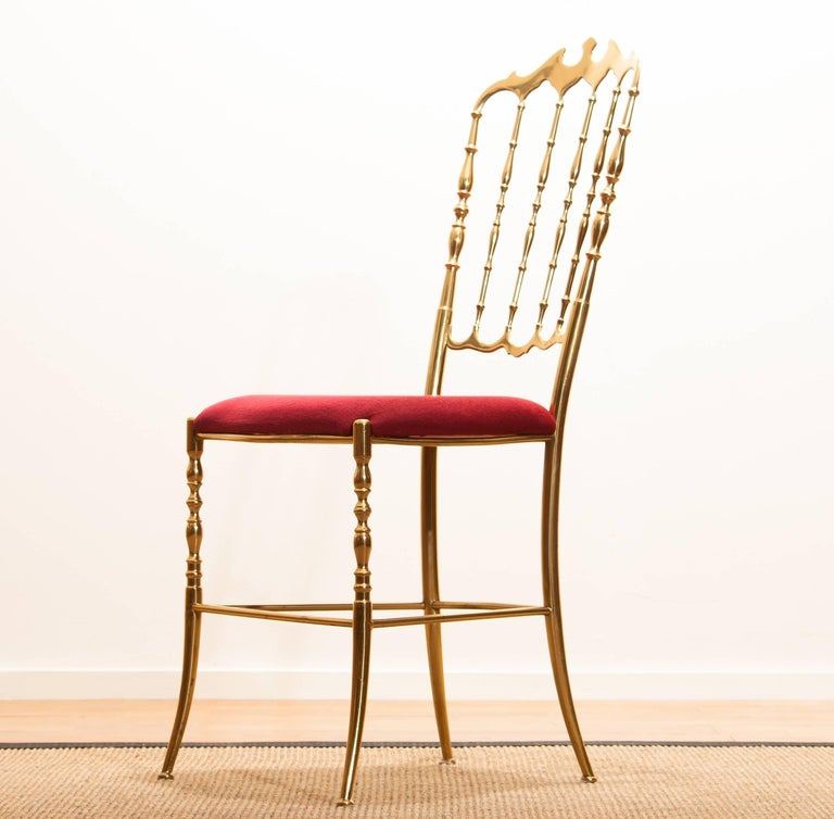 Italian 1950s, Brass Chair by Chiavari Italy For Sale