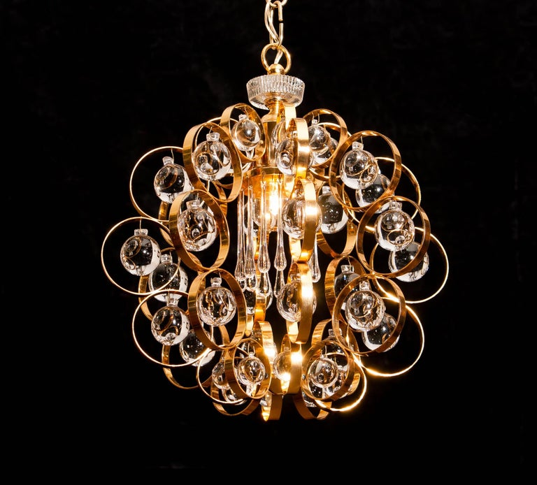 Gilt 1960s, Gilded Brass Murano Glass Chandelier by Palwa For Sale