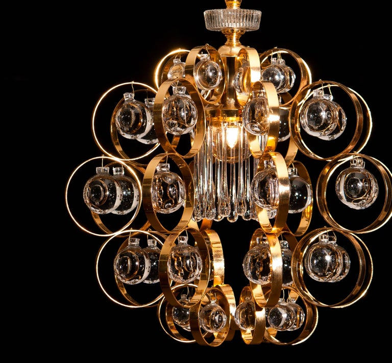 Mid-20th Century 1960s, Gilded Brass Murano Glass Chandelier by Palwa For Sale