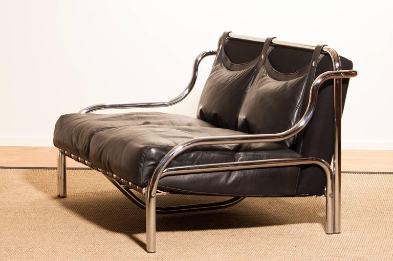 1960s, Leather and Chrome Lounge Sofa and Chair by Gae Aulenti for Poltronova For Sale 6