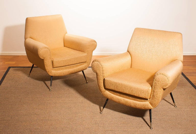 Mid-20th Century Golden Jacquard Upholstered Easy Chairs by Gigi Radice for Minotti, Brass Legs. For Sale