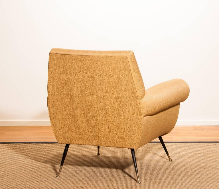 Mid-Century Modern Gigi Radice for Minotti Easy Chair in Gold Colored Jacquard And Slim Brass Legs. For Sale