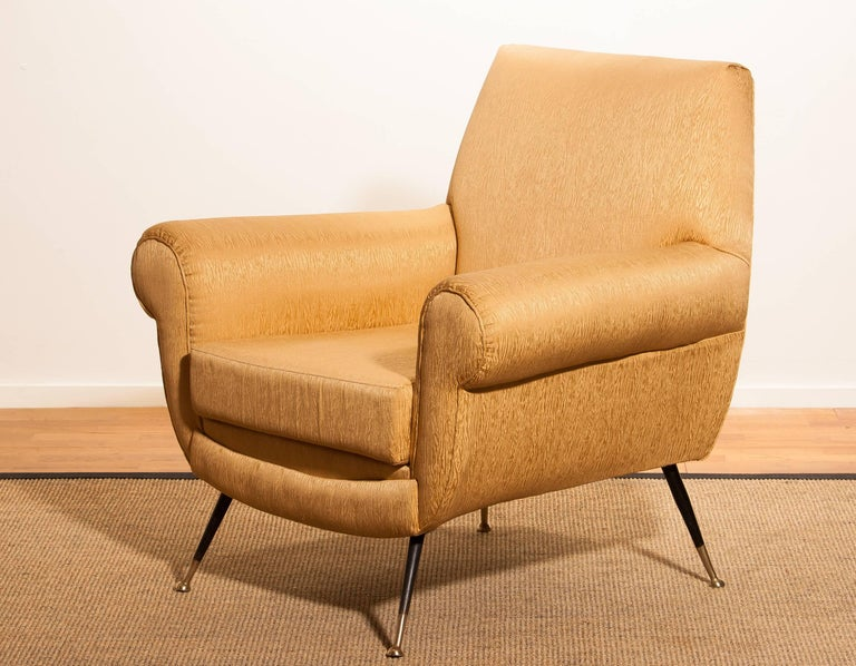Gigi Radice for Minotti Easy Chair in Gold Colored Jacquard And Slim Brass Legs. For Sale 1