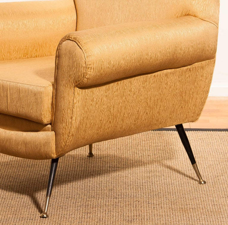 Gigi Radice for Minotti Easy Chair in Gold Colored Jacquard And Slim Brass Legs. For Sale 2