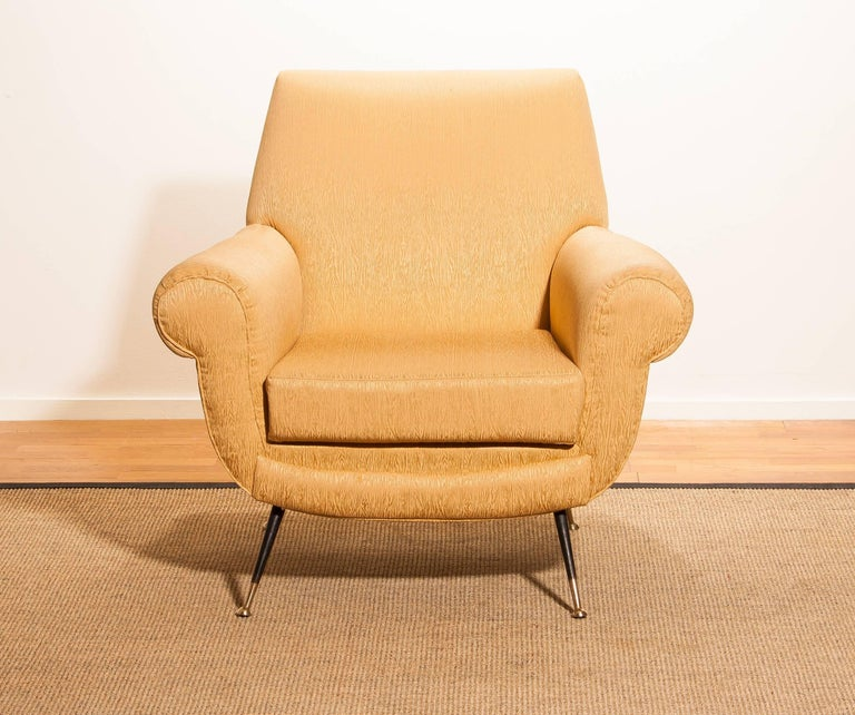 Gigi Radice for Minotti Easy Chair in Gold Colored Jacquard And Slim Brass Legs. For Sale 3
