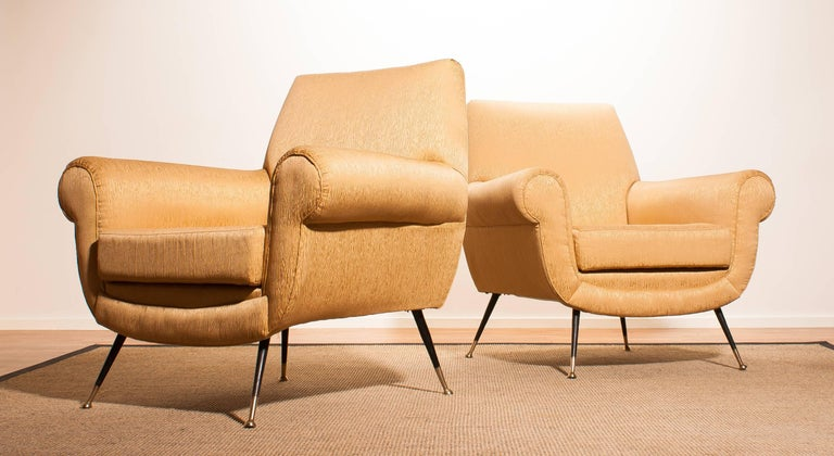Gigi Radice for Minotti Easy Chair in Gold Colored Jacquard And Slim Brass Legs. For Sale 4