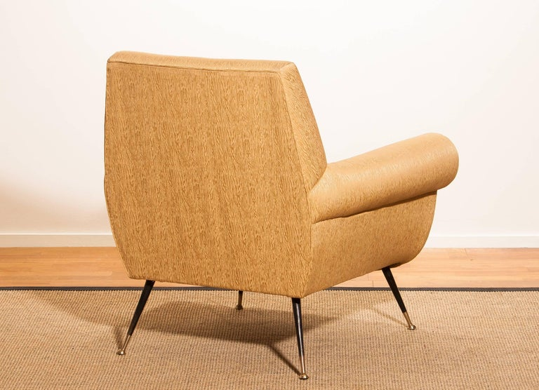 Mid-20th Century Gigi Radice for Minotti Lounge Chair, Golden Jacquard and Brass Stiletto Legs For Sale