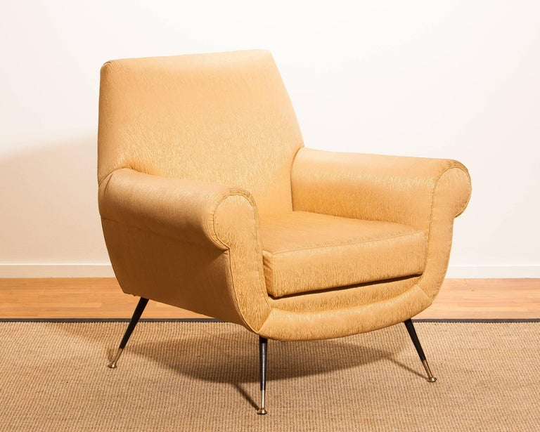 Gigi Radice for Minotti Lounge Chair, Golden Jacquard and Brass Stiletto Legs For Sale 2