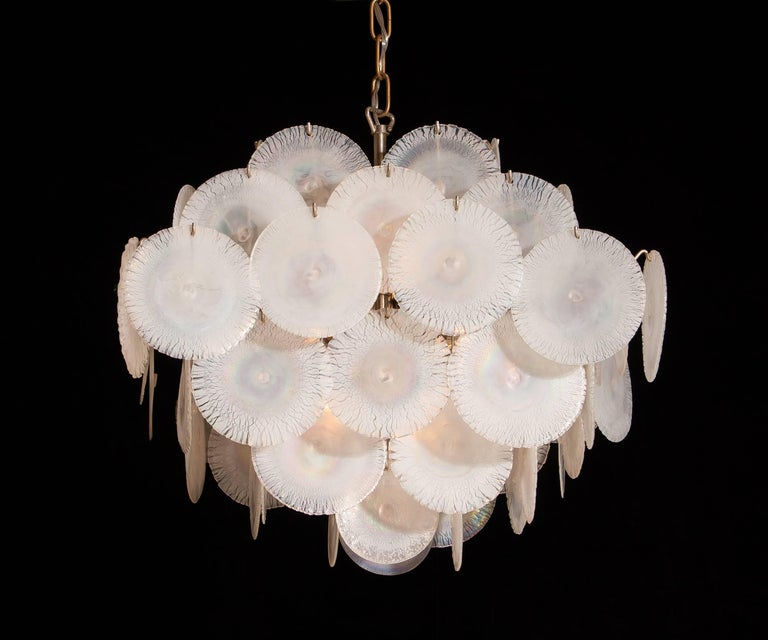Gino Vistosi Chandelier with 60 Handmade Murano White/Pearl Colored Crystals For Sale 4
