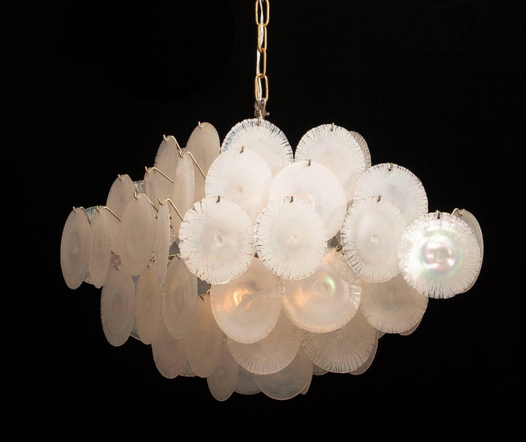 Gino Vistosi Chandelier with White / Pearl Murano Crystal Discs For Sale 3