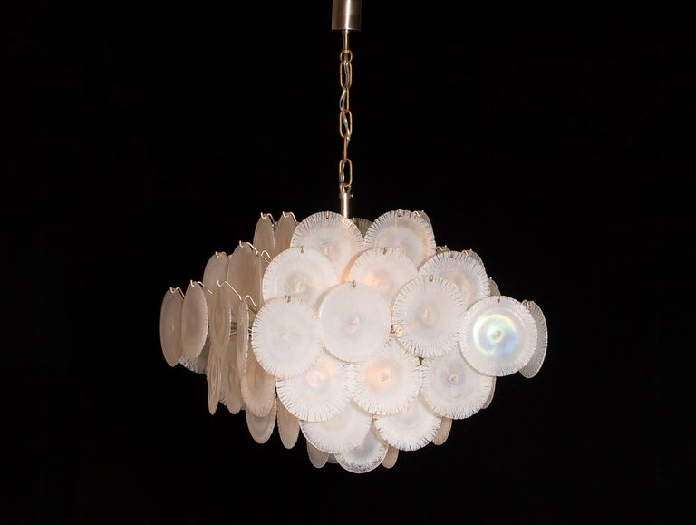 Set of Two Gino Vistosi Chandeliers with White / Pearl Murano Crystal Discs For Sale 4