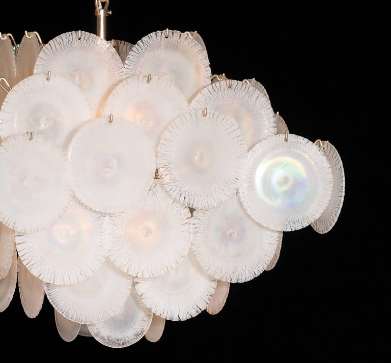 Set of Two Gino Vistosi Chandeliers with White / Pearl Murano Crystal Discs For Sale 6