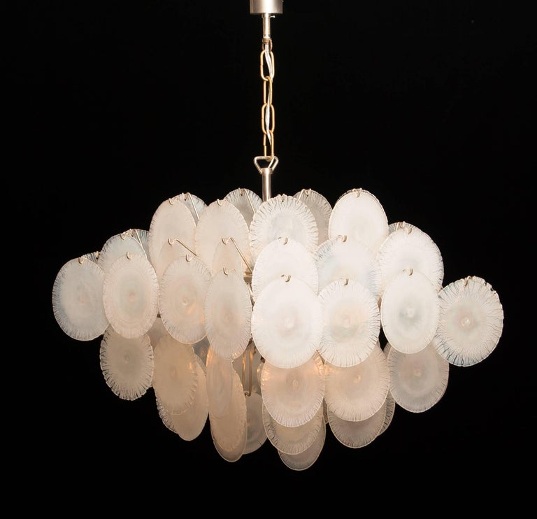 Set of Two Gino Vistosi Chandeliers with White / Pearl Murano Crystal Discs For Sale 11