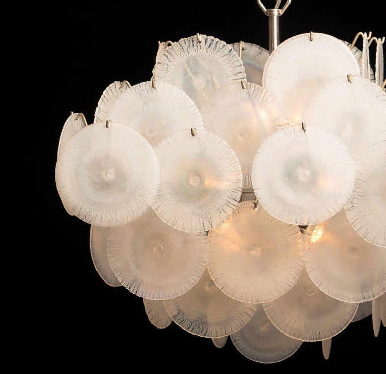Set of Two Gino Vistosi Chandeliers with White / Pearl Murano Crystal Discs For Sale 12