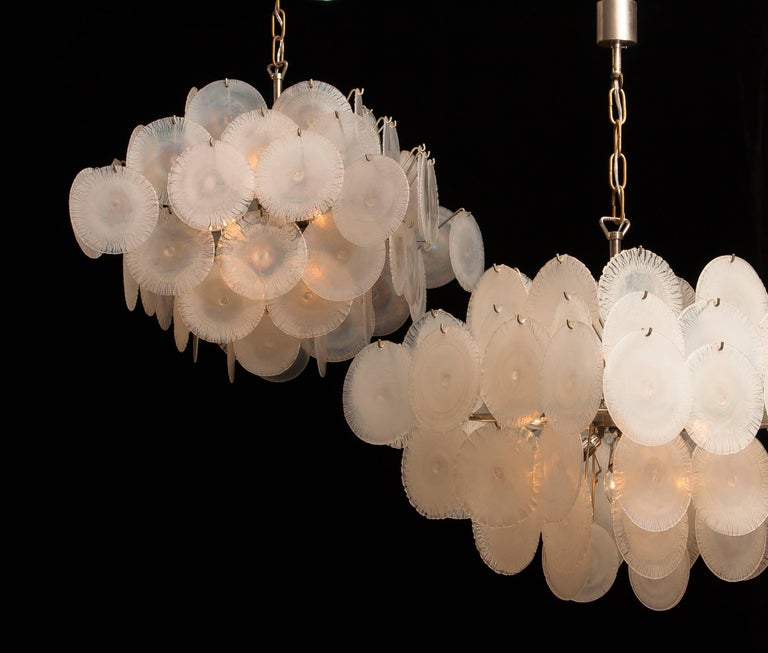 Mid-20th Century Set of Two Gino Vistosi Chandeliers with White / Pearl Murano Crystal Discs For Sale