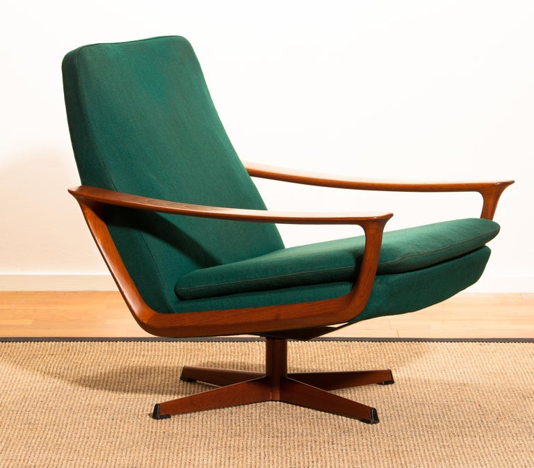 Extremely rare teak swivel chair by Johannes Andersen for Trensum, Denmark.  The chair is in excellent condition. Upholstery and padding shows wear consistent with age and use. Period: 1960 The dimensions are: Height 73cm = 29inch - Wide 71cm = 28