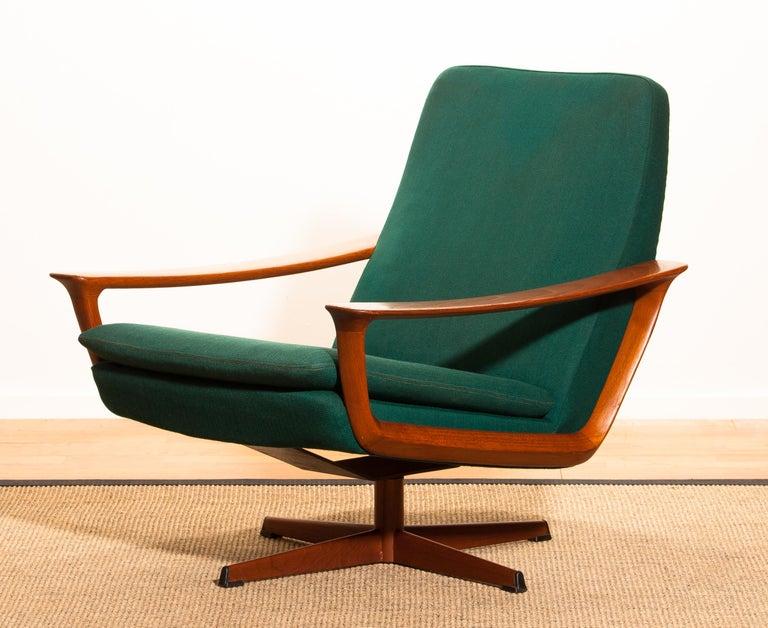 Mid-20th Century 1960s, Teak Swivel Chair by Johannes Andersen for Trensum Denmark For Sale