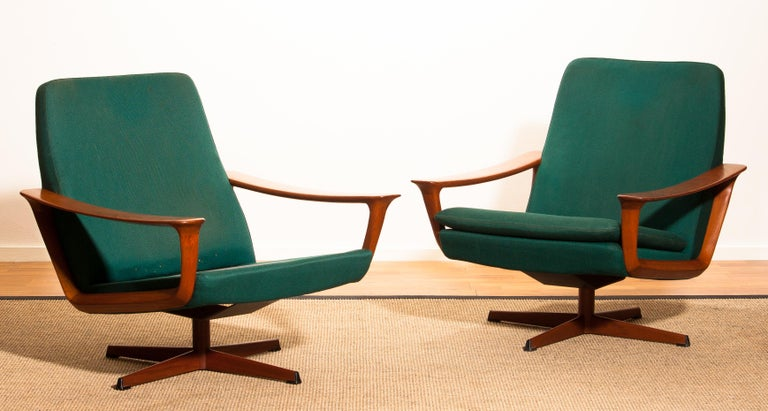 Teak Set of Two Swivel Chairs by Johannes Andersson for Trensums Denmark, 1960 For Sale 8