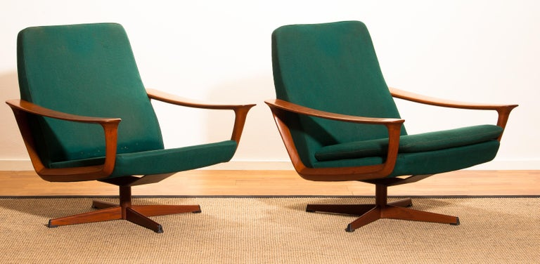 Teak Set of Two Swivel Chairs by Johannes Andersson for Trensums Denmark, 1960 For Sale 16