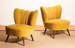 Set of Two Golden Velvet Jacquard Swedish Cocktail Chairs / Easy Chairs. 1930