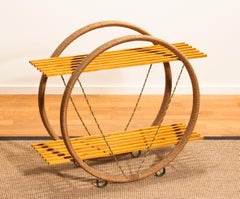 Swedish Circular Metal Wrapped with Sisal / Papercord Cabinet with Beech Shelfs