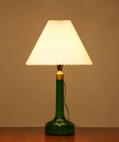 1960s. Green Scandinavian Glass Table Lamp Made By Holmegaard Denmark.