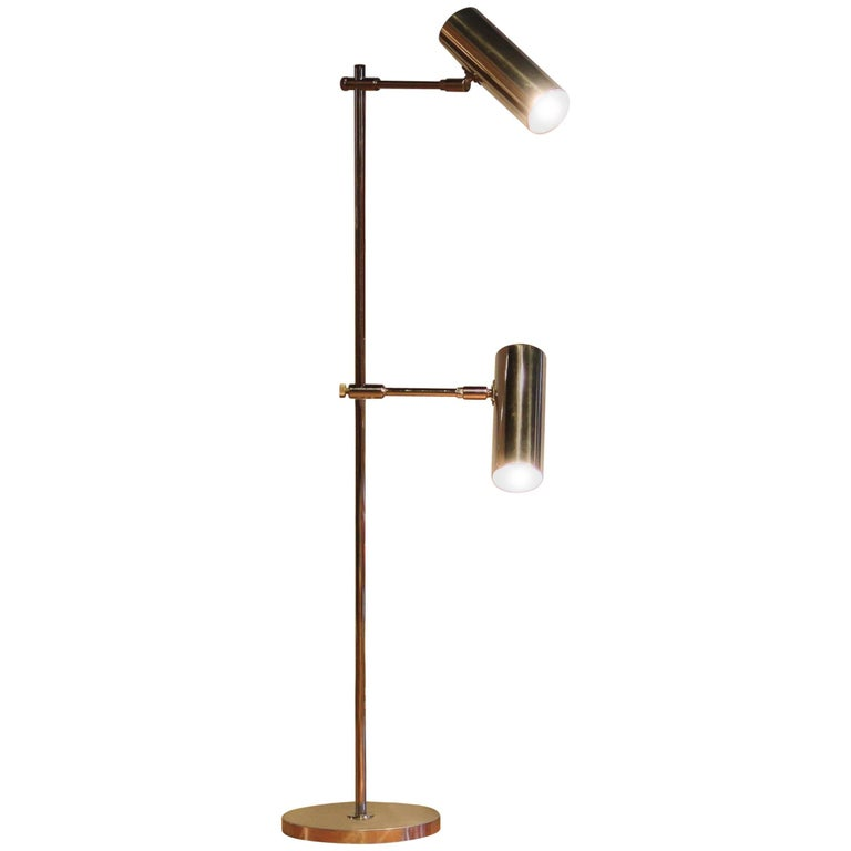 "1960s, Aluminium and Chrome ""Scan-Light"" Floor Lamp by Bergboms, Sweden For Sale"