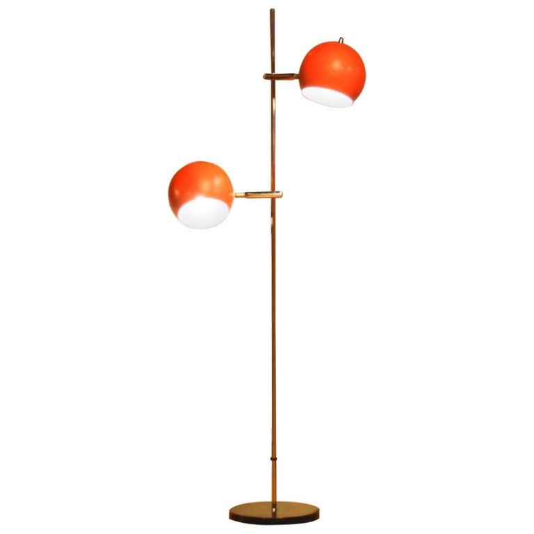 1970s, Two-Light Red Eye-Ball Floor Lamp For Sale