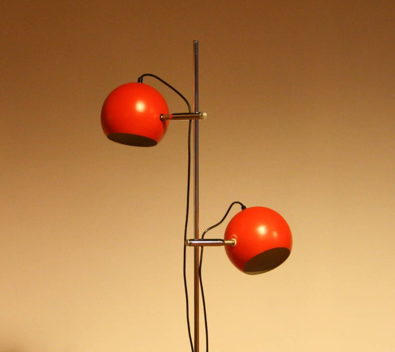 Late 20th Century 1970s, Two-Light Red Eye-Ball Floor Lamp For Sale