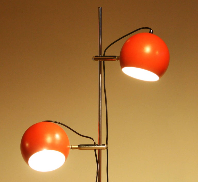 Metal 1970s, Two-Light Red Eye-Ball Floor Lamp For Sale