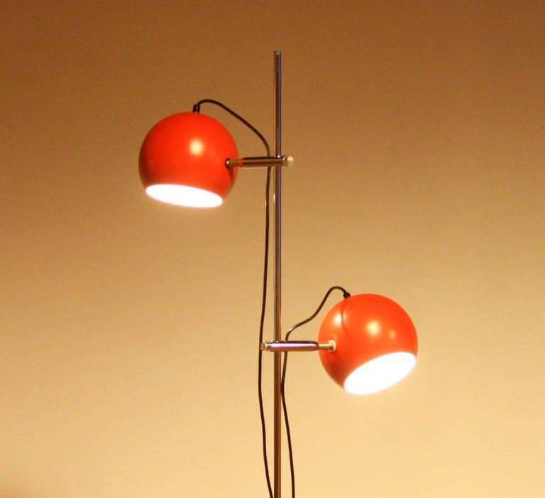 1970s, Two-Light Red Eye-Ball Floor Lamp For Sale 1