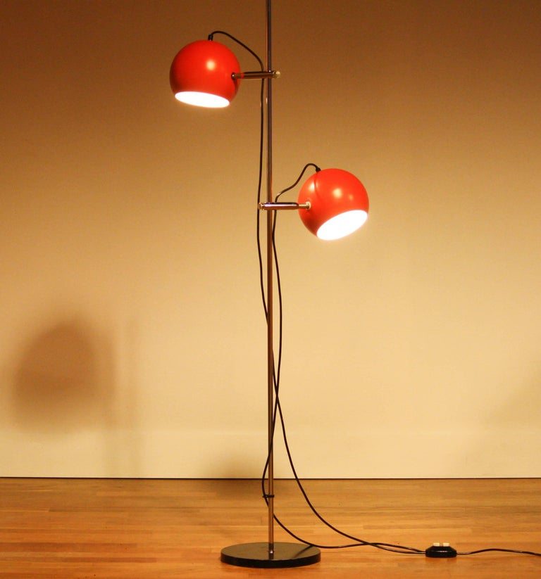 1970s, Two-Light Red Eye-Ball Floor Lamp For Sale 2