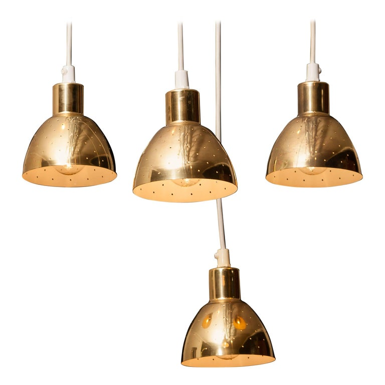 1960s Set of Four Brass Pendants by Hans-Ange Jakobsson for Markaryd Sweden For Sale