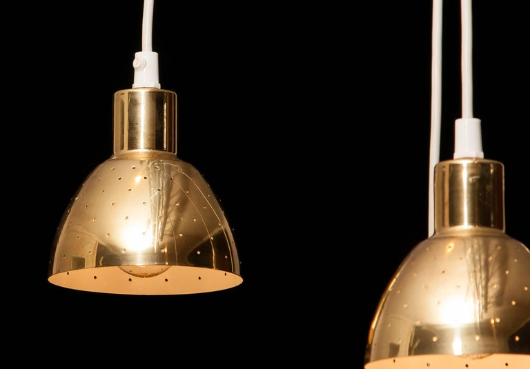 Very nice set of four brass pendants by Hans-Ange Jakobsson for Markaryd Sweden.