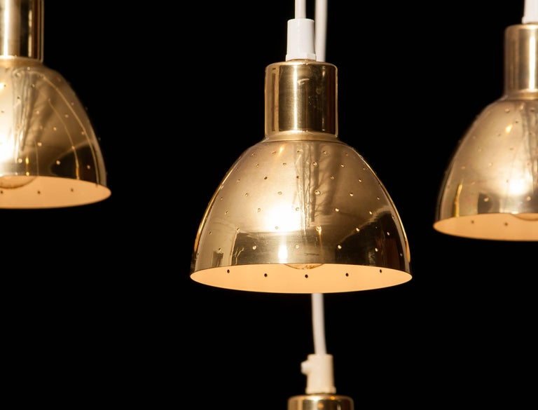 Swedish 1960s Set of Four Brass Pendants by Hans-Ange Jakobsson for Markaryd Sweden For Sale