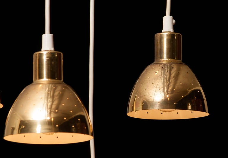 1960s Set of Four Brass Pendants by Hans-Ange Jakobsson for Markaryd Sweden In Excellent Condition For Sale In Silvolde, Gelderland