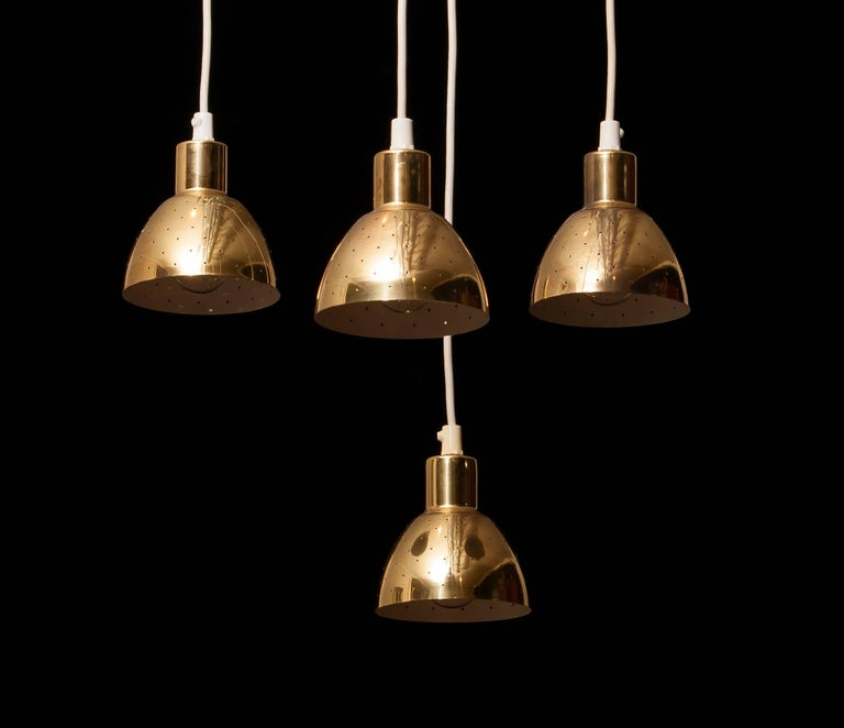 1960s Set of Four Brass Pendants by Hans-Ange Jakobsson for Markaryd Sweden For Sale 1