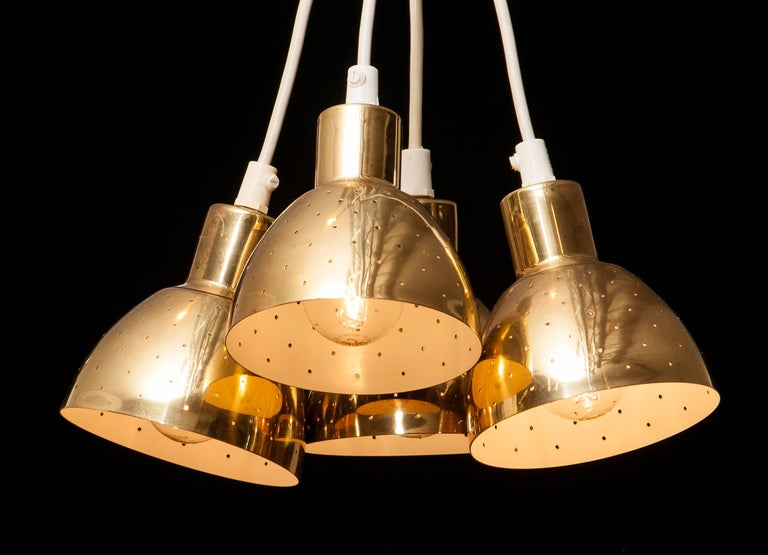 1960s Set of Four Brass Pendants by Hans-Ange Jakobsson for Markaryd Sweden For Sale 2
