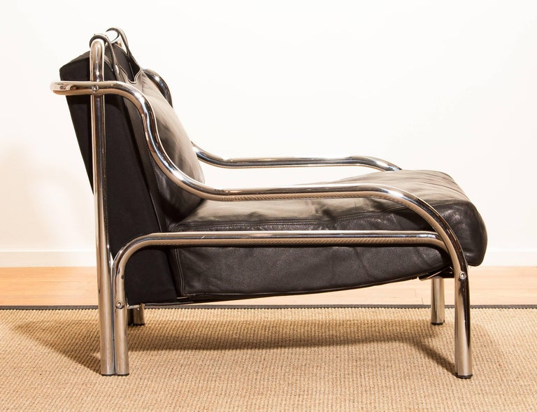 1960s, Leather and Chrome Lounge Chair by Gae Aulenti for Poltronova For Sale 5