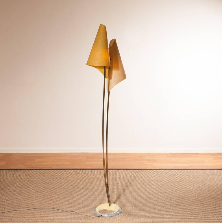 Metal 1960s, Fibreglass Two Shades Floor Lamp, Germany For Sale
