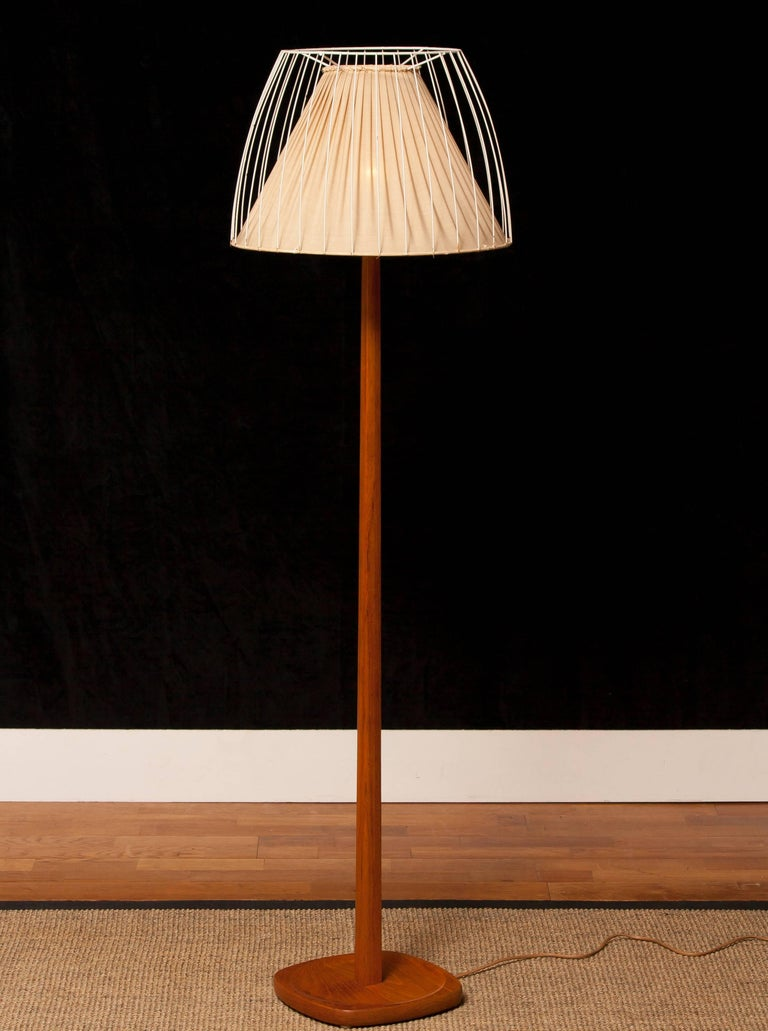 Metal 1950s, Teak Floor Lamp by Stilarmatur, Sweden For Sale