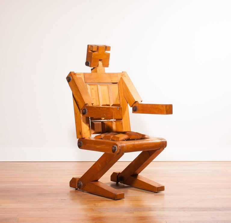 Dutch 1970s, Pinewood Robot Chair For Sale