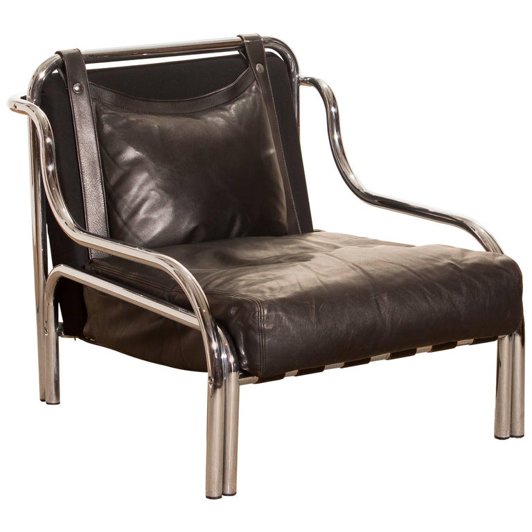 1960s, Leather and Chrome Lounge Chair by Gae Aulenti for Poltronova For Sale